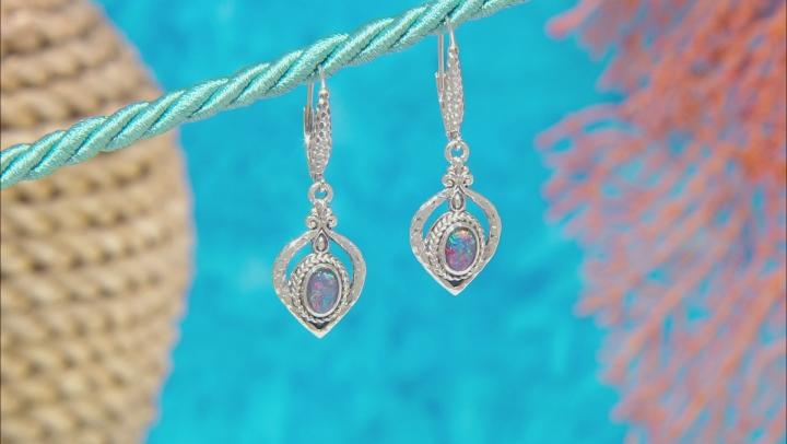 Australian Opal Triplet Silver Dangle Earrings
