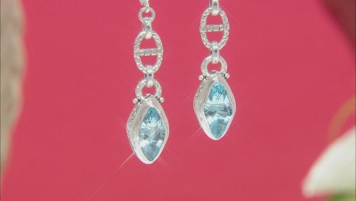 Sky Blue Topaz Sterling Silver Earrings 5.42ctw