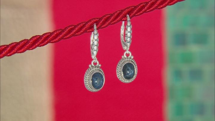 Blue Star Sapphire Sterling Silver Earrings