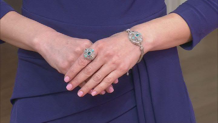 Blue & White Topaz, Sleeping Beauty Turquoise Silver Bracelet 1.66ctw