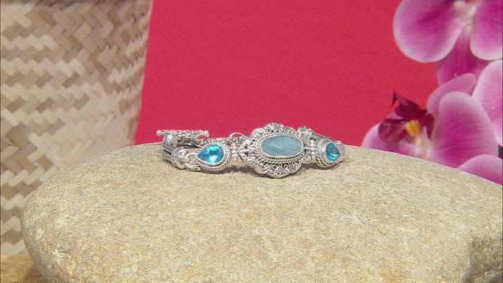Dreamy Aquamarine and Swiss Blue Topaz Silver Bracelet 3.72ctw