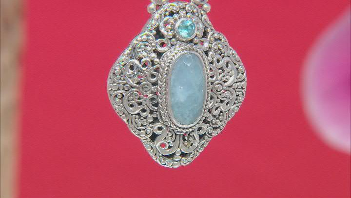 Dreamy Aquamarine and Swiss Blue Topaz Silver Pendant .31ct