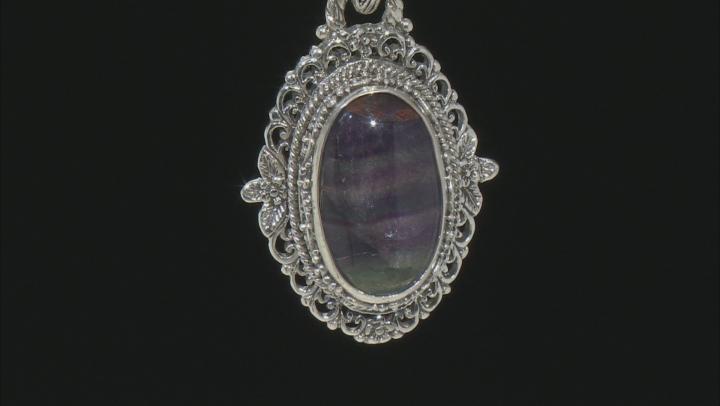 Banded Fluorite Doublet Silver Pendant