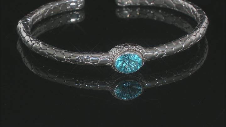 Swiss Blue Topaz Silver Cuff Bracelet 2.91ctw