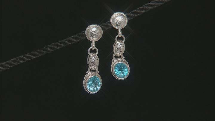 Swiss Blue Topaz Silver Dangle Earrings 5.82ctw