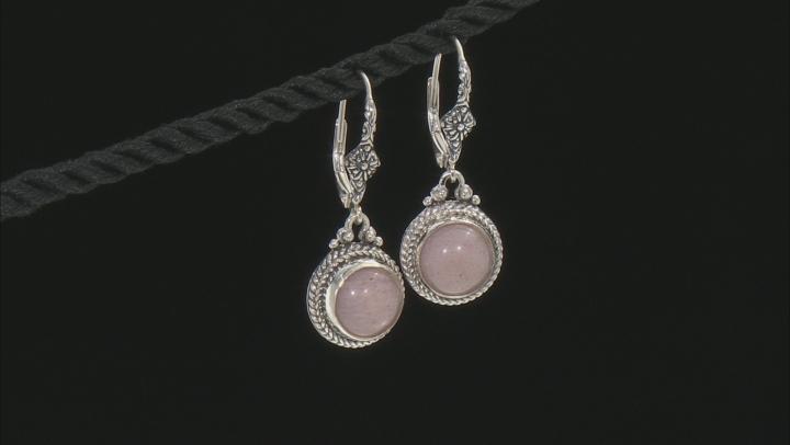 Peach Moonstone Silver Dangle Earrings