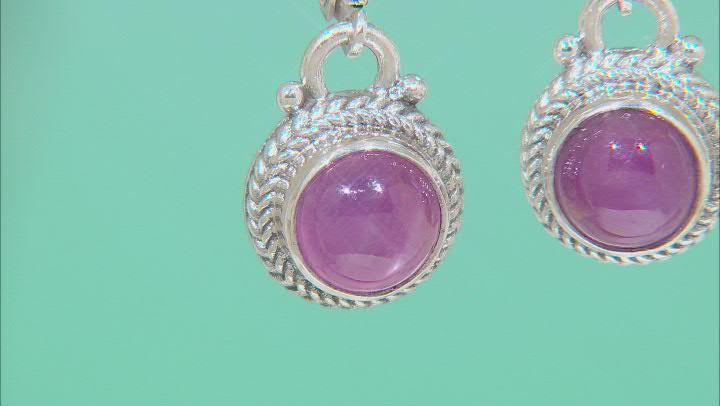 8mm Ruby Cabochon Silver Dangle Earrings 5.72ctw
