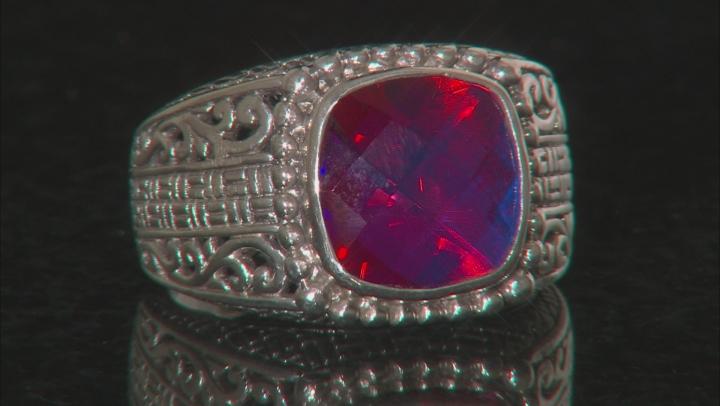 Multicolor Volcanic Quartz Triplet Sterling Silver Ring