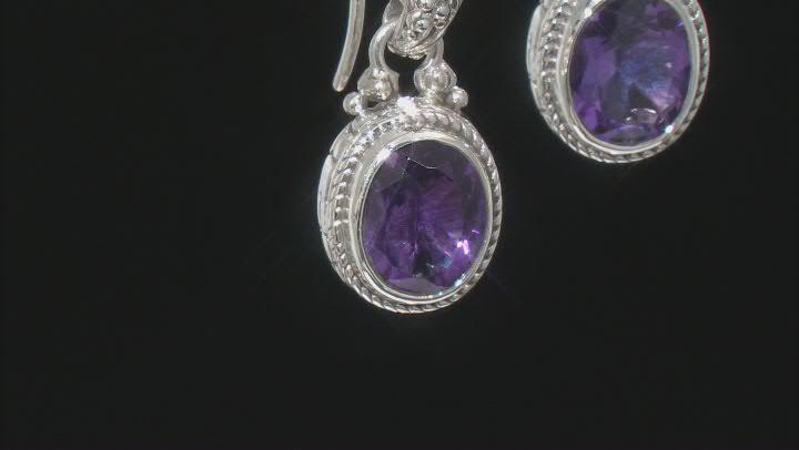 Amethyst Silver Dangle Earrings 4.30ctw