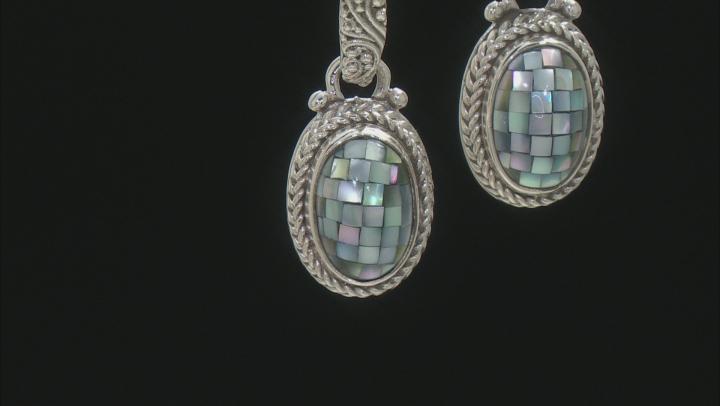 Mosaic Grey Mother Of Pearl Dangle Earrings