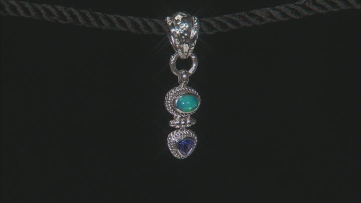 Paraiba Color Opal And Trillion Tanzanite Silver Pendant