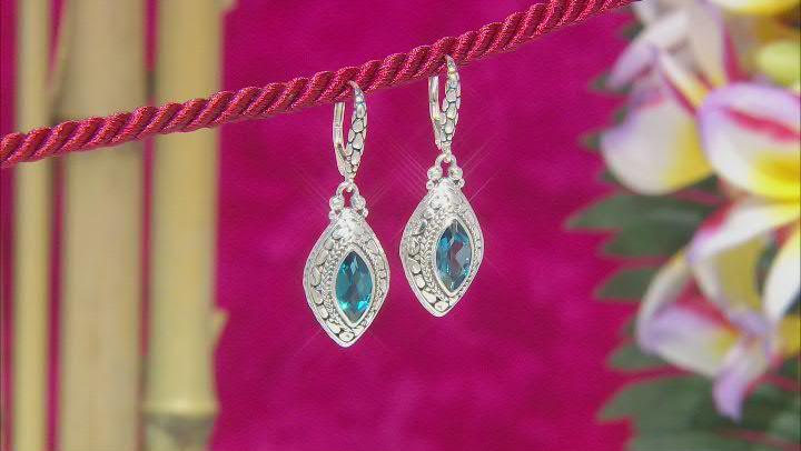 London Blue Topaz Sterling Silver Earrings 3.32ctw