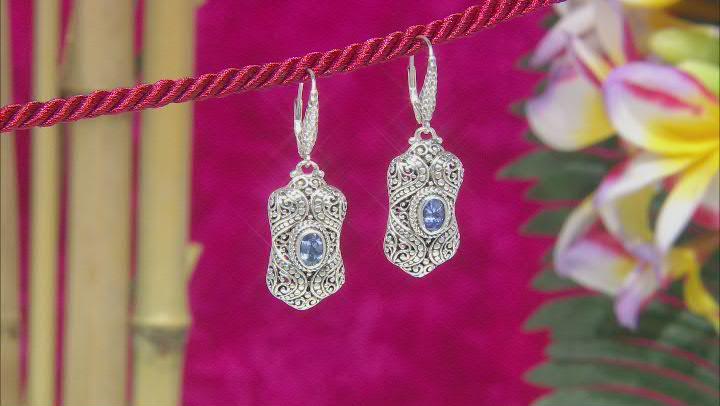 Blue Tanzanite Sterling Silver Earrings 1.24ctw