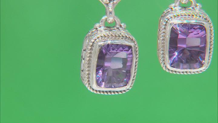 Purple Amethyst Sterling Silver Earrings 4.26ctw