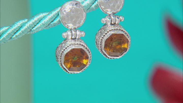 Citrine Sterling Silver Earrings 3.40ctw