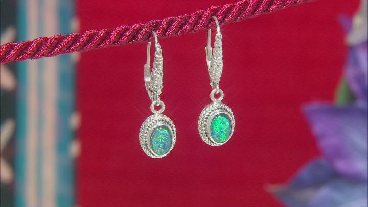 Australian Opal Triplet Silver Earrings