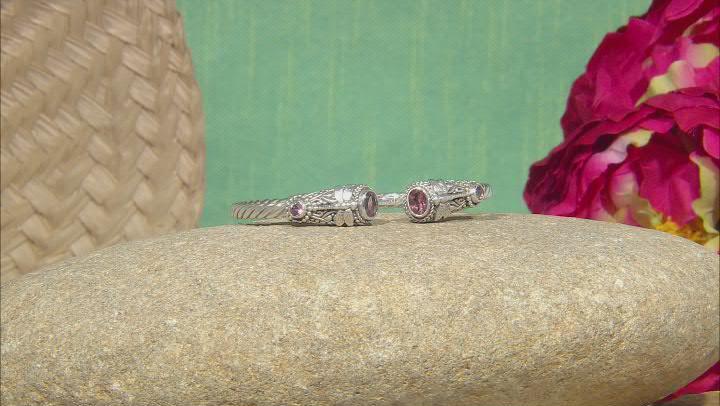 Always True Rose™ Quartz & Topaz Silver Cuff Bracelet 1.84ctw