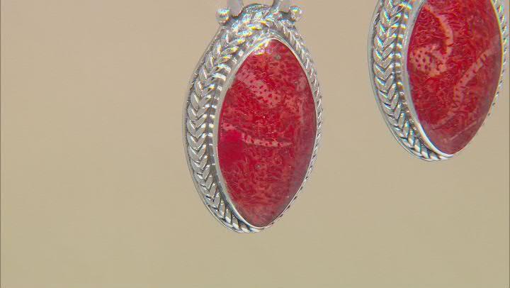 Red Indonesian Sponge Coral Silver Earrings