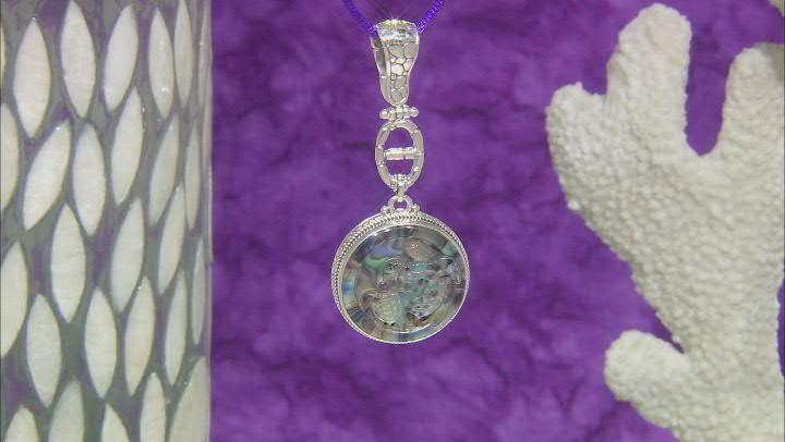 Abalone Quartz Doublet Silver Sea Turtle Enhancer Pendant