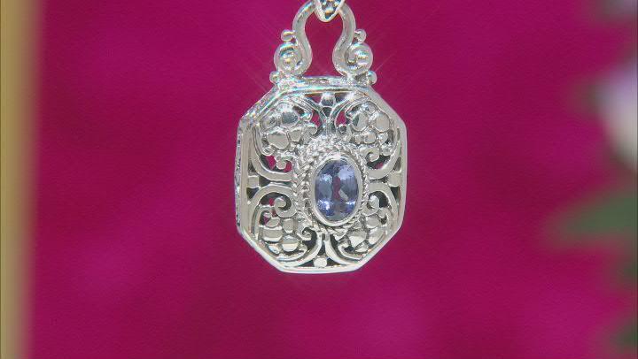 Blue Tanzanite Sterling Silver Pendant .86ctw