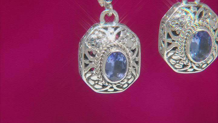 Blue Tanzanite Sterling Silver Dangle Earrings 1.20ctw