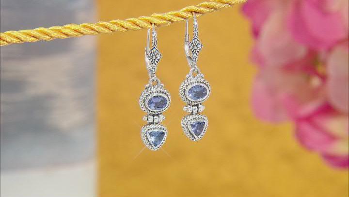 Blue Tanzanite Sterling Silver Earrings 1.72ctw