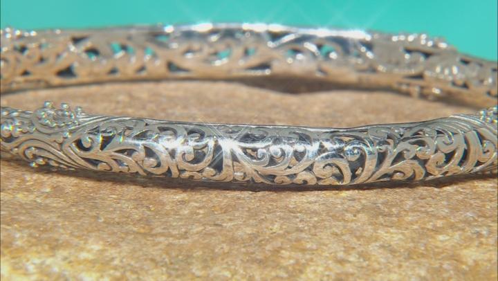 Sterling Silver Filigree Hinged Bangle Bracelet