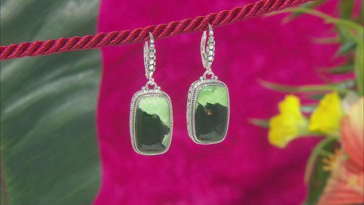 Green Chrome Chalcedony Silver Earrings