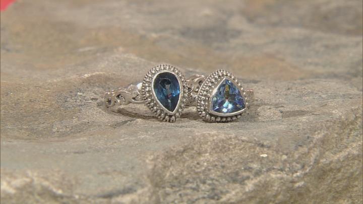 Blue Topaz Sterling Silver 6 Ring Set 1.80ctw