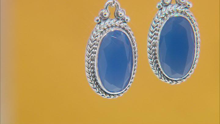 Dark Blue Onyx Sterling Silver Earrings