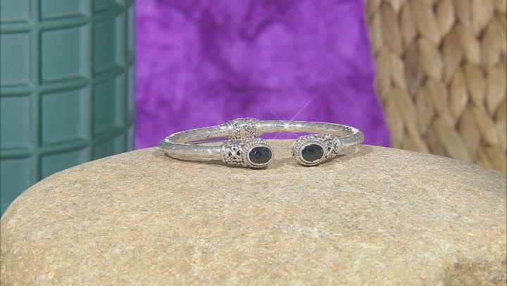 Black Spinel Sterling Silver Bangle Bracelet 1.96ctw