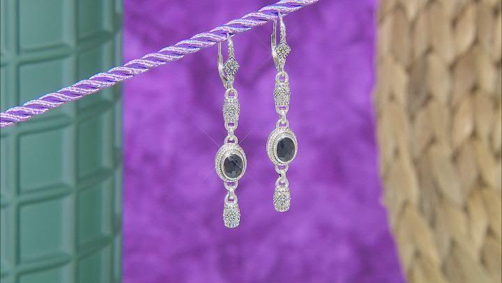 Black Spinel Sterling Silver Dangle Earrings 1.96ctw