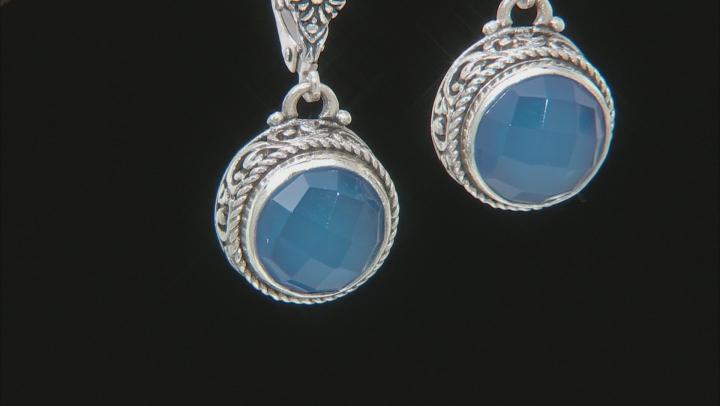 Madagascar Blue Agate Silver Earrings