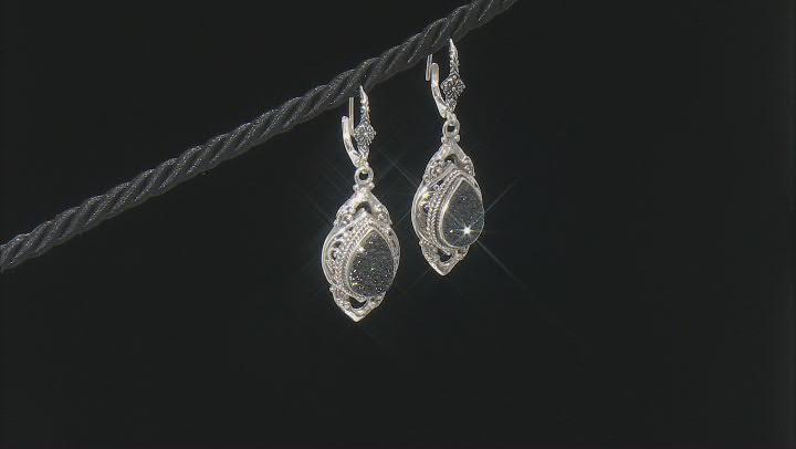 Black Night™ Drusy Quartz Silver Earrings