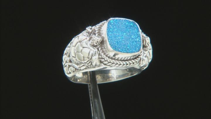 Baby Blue Moon Drusy Quartz Silver Ring