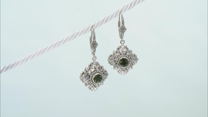 Green Moldavite Sterling Silver Dangle Earrings 1.08ctw