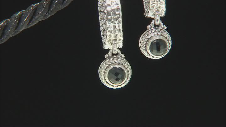 Black Spinel Sterling Silver Hoop Earrings 1.14ctw