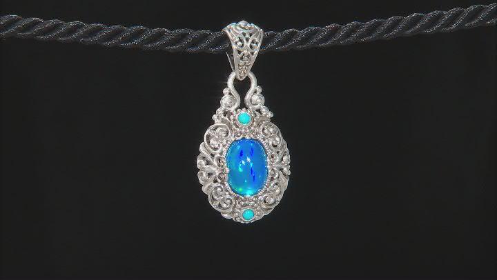 Paraiba Color Opal Sterling Silver Pendant 2.55ct