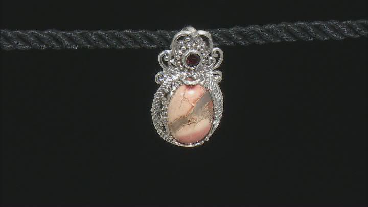 Brecciated Jasper And Garnet Silver Pendant .22ct