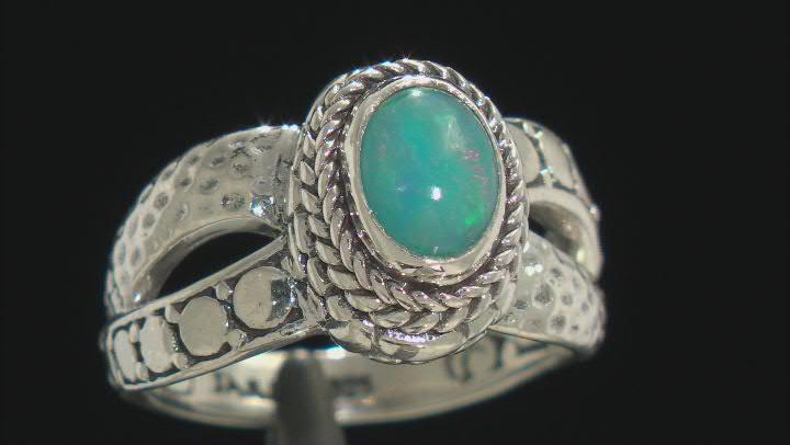 Paraiba Color Ethiopian Opal Silver Ring .68ct