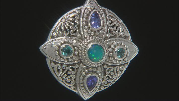 Paraiba Color Ethiopian Opal, Tanzanite & Kyanite Silver Pendant 1.67ctw