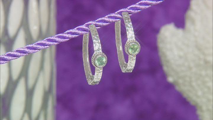 Mint Green Kyanite Sterling Silver Hoop Earrings 1.10ctw