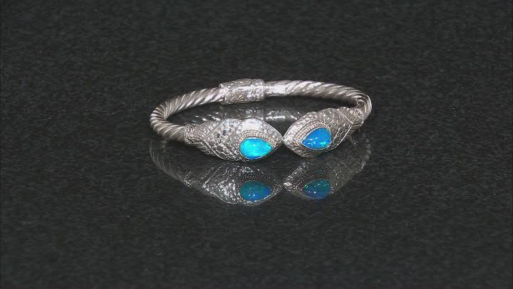 Dark Paraiba Color Ethiopian Opal Silver Bracelet 1.86ctw