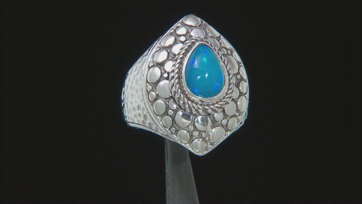 Dark Paraiba Color Ethiopian Opal Silver Ring .93ct