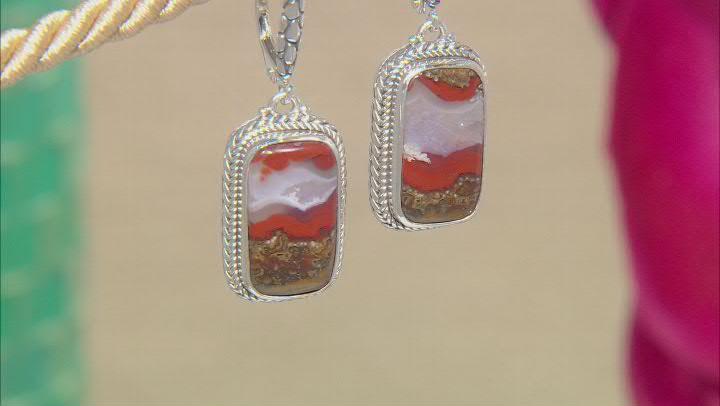 Seam Agate Sterling Silver Earrings