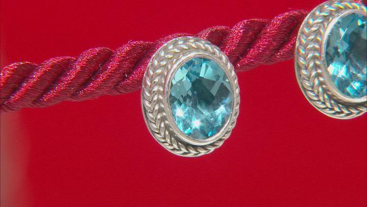 Swiss Blue Topaz Sterling Silver Earrings 3.92ctw