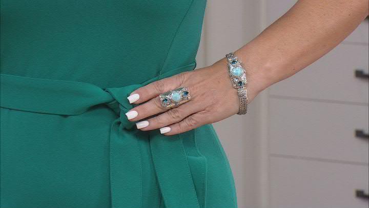 Larimar & London Blue Topaz Silver Bracelet 1.54ctw