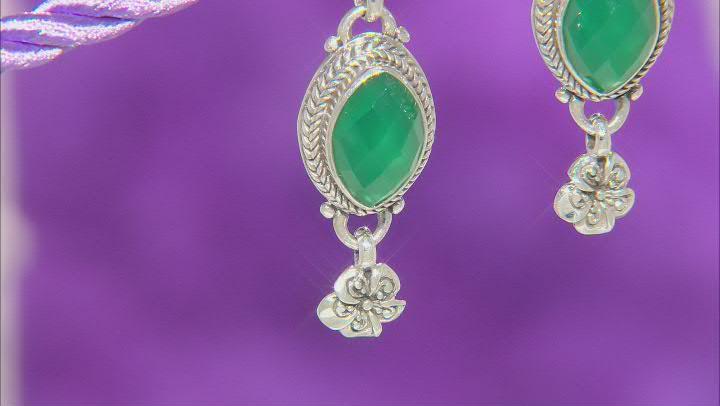 Green Onyx Silver Frangipani Earrings