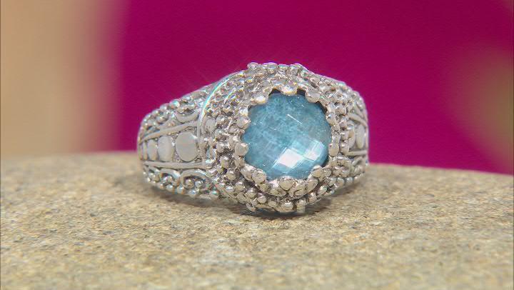 Blue Quartz Triplet Silver Ring 1.51ct