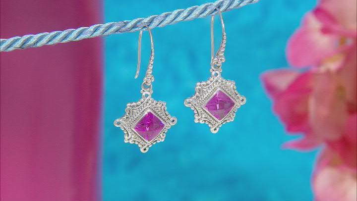 Lab Created Dark Rose Sapphire Silver Earrings 5.72ctw